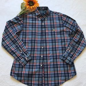 Ralph Lauren Plaid Polo Button Up - Custom Fit - L